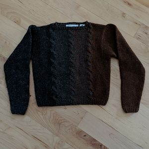 Vintage Wool Cable Knit Crop Sweater
